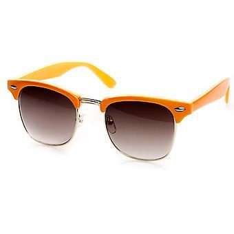Classic Pastel Color Half Frame Horn Rimmed Sunglasses