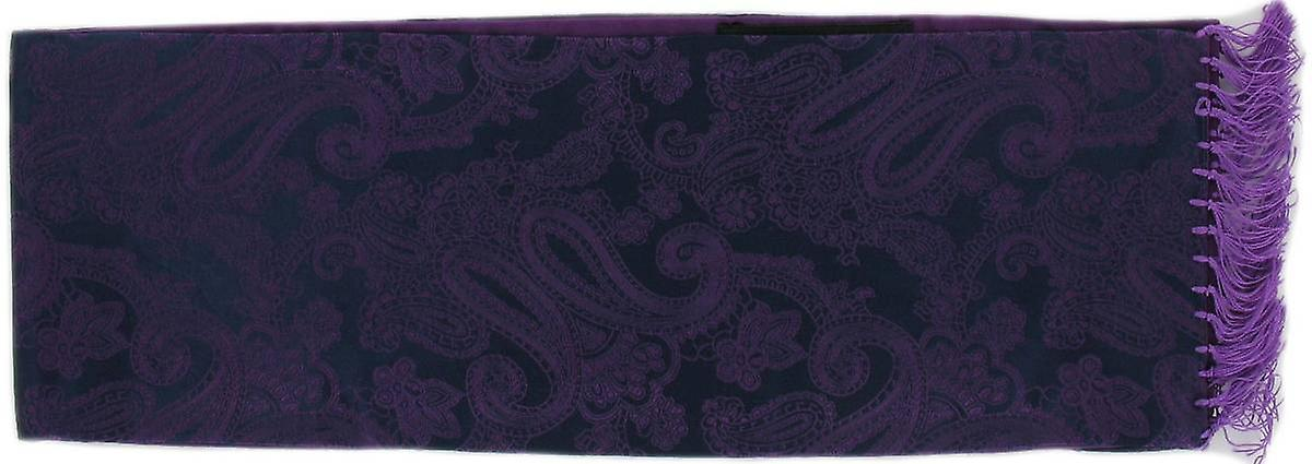 Michelsons of London Narrow Jacquard Paisley Silk Scarf - Purple