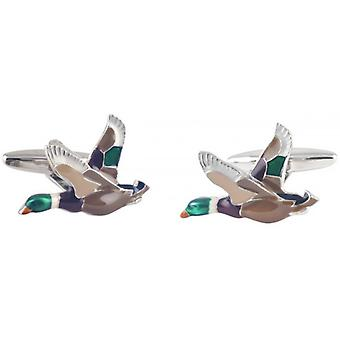 David Van Hagen Flying Duck Cufflinks - Silver/Brown
