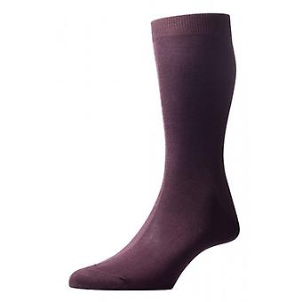 Pantherella Tabbard Flat Knit Cotton Lisle Socks - Chocolate