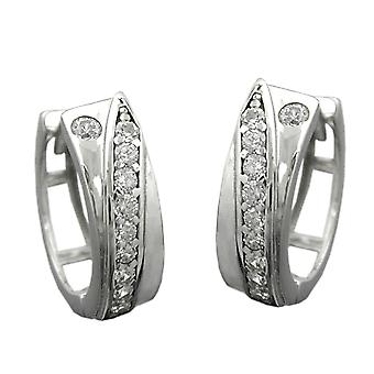 Elegant Creole silver hinged flip top White cubic zirconia Creole rhodium-plated silver