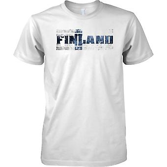Finland Grunge Country Name Flag Effect - Mens T Shirt