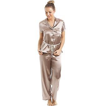 Camille Taupe Kurzarm mit Gürtel Satin Pyjama-Set