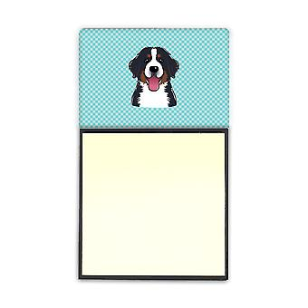 Dambord Blue Bernese Mountain Dog Refiillable notitie houder of Postit