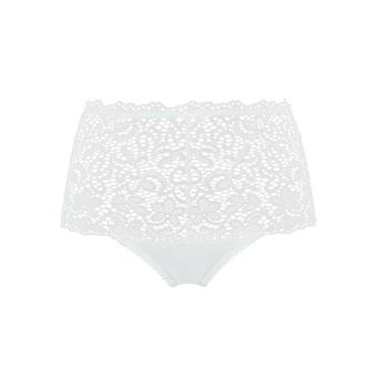 Sans Complexe 619611 Women's Clemence White Floral Lace Full Panty Highwaist Brief