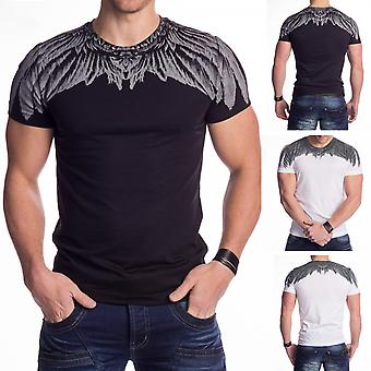 Men's shirt short-sleeved shirt Eagle wings print feather SlimFit clubwear Russian