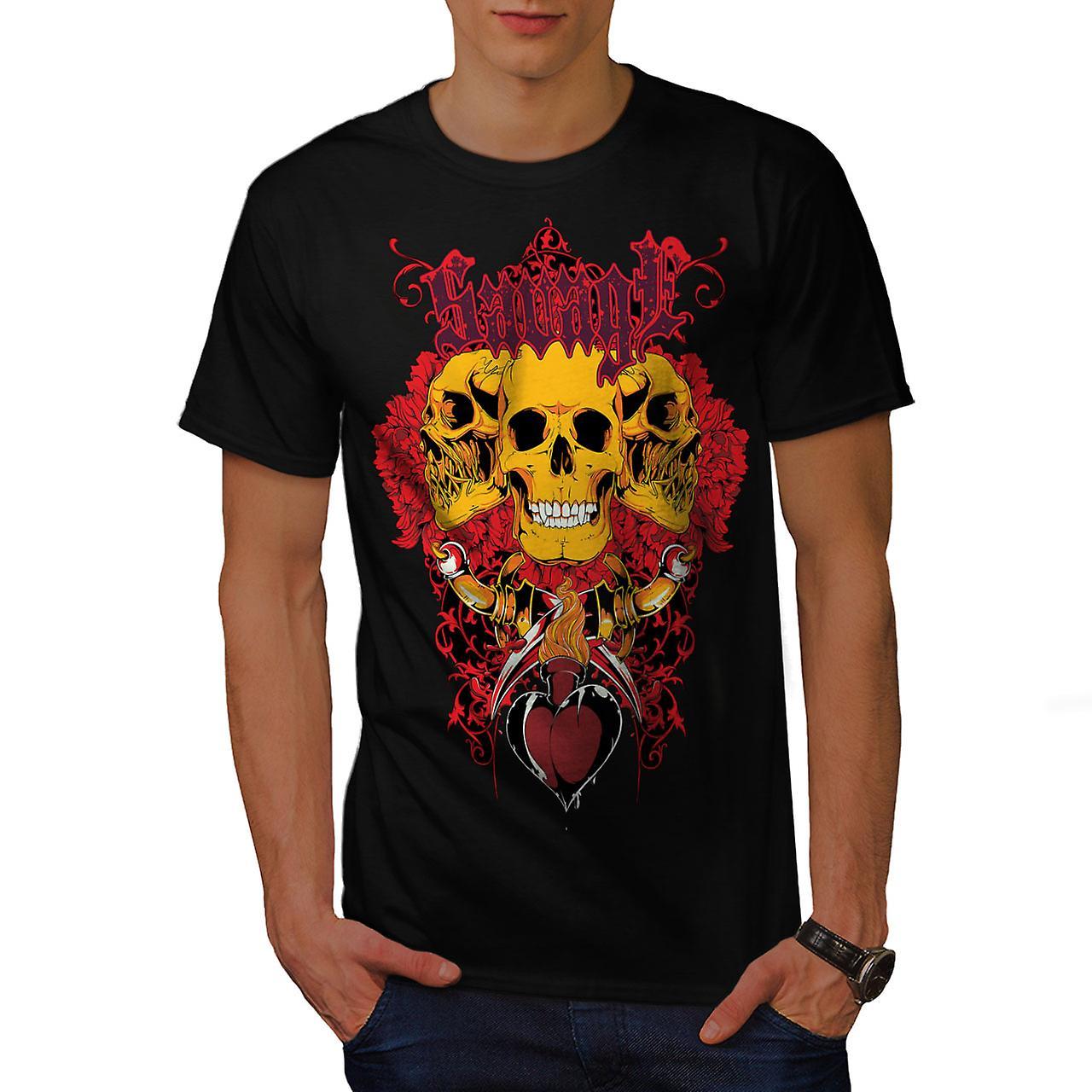 Savage Badass Rose Skull Men Black T-shirt | Wellcoda