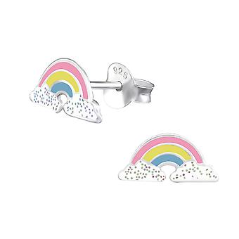 Rainbow - 925 Sterling Silver Colourful Ear Studs