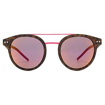 Polaroid Round Double Bridge Sunglasses In Matt Havana Pink Mirror Polarised