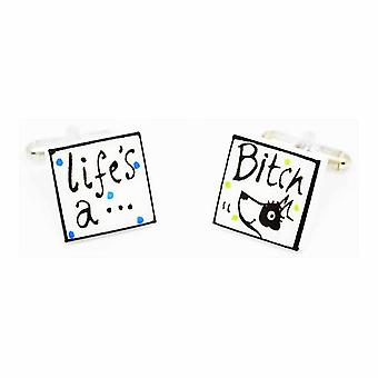 Sonia Spencer Life's A Bitch Cufflinks with Black & White Dog, in Presentation Gift Box. Hand painted