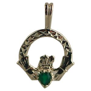 9ct Gold 20x15mm diamond cut Claddagh Pendant set with Green Agate