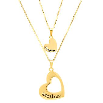 Ladies 18K Gold Plated Stainless Steel Set Of 2 Heart Pendants