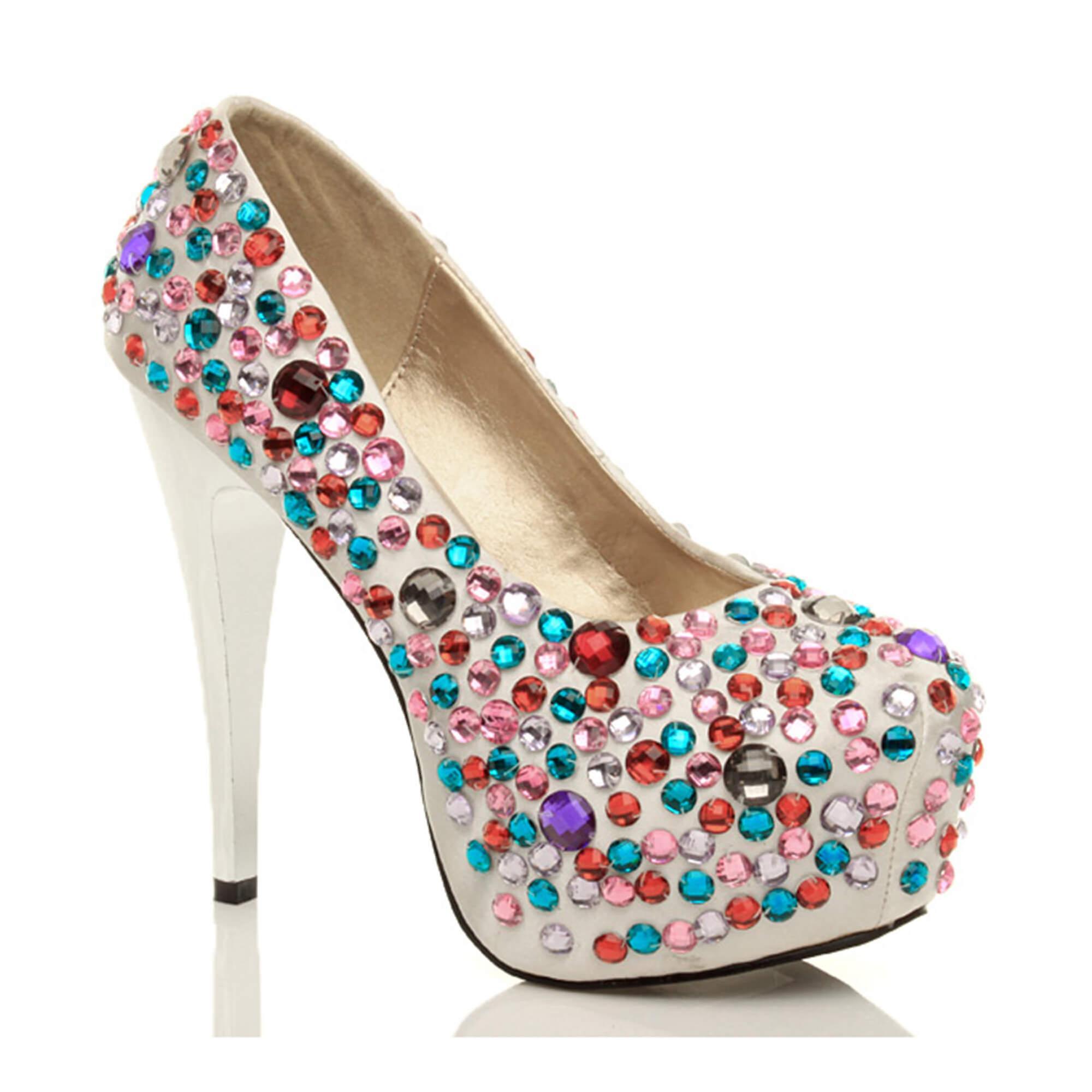 Ajvani womens high heel platform wedding prom party shoes bridal gems diamante court shoes party pumps<Online Shopping<Gentleman/Lady ac57a8