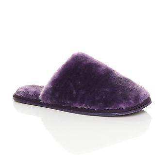 Ajvani Womens flache Winter Luxus gemütliche flauschige faux Schaffell Fell gefüttert Slip-on-Pantoletten Hausschuhe