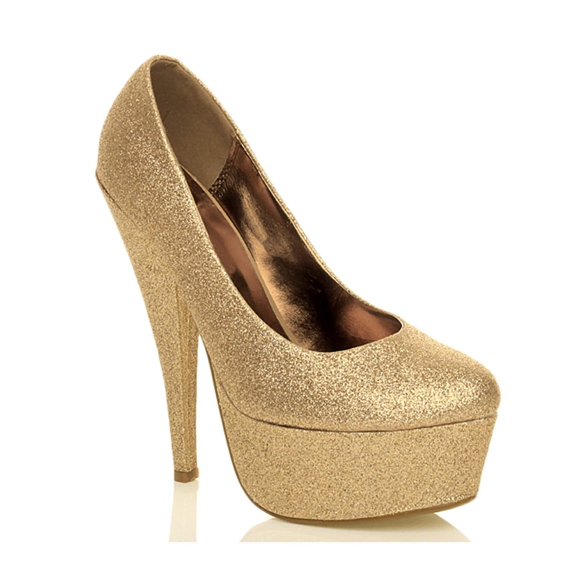 Ajvani Womens Plattform high-Heel Glitzer party Abend Gericht Schuhe pumps