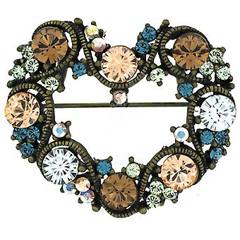 Brooches Store Multi Crystal Open Love Heart Brooch / Pendant - Blue