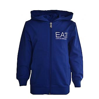 EA7 Boys EA7 Kids Blue Hooded Sweatshirt