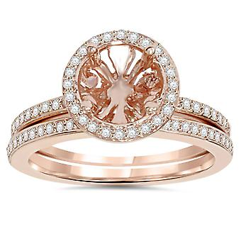 1 / 3CT Rose Gold Halo Diamond Engagement Ring instelling & Band 14K