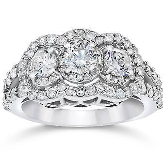 1 1 / 2ct 3 Stein Halo echt 3 Diamant Verlobungsring 14k White Gold