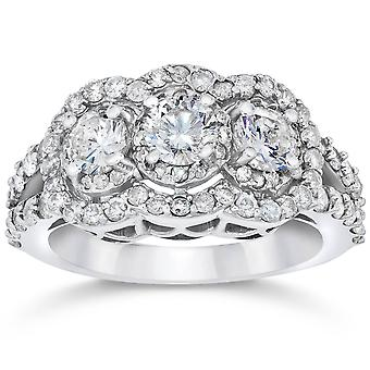 1 1 / 2ct 3 Stone Halo echte 3 diamanten verlovingsring 14k witgoud