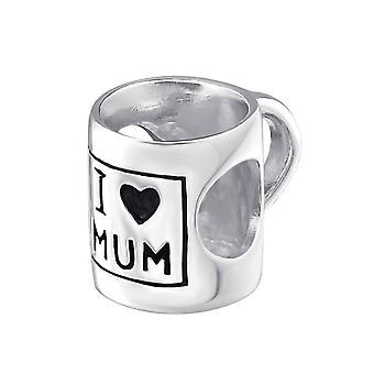 «J'aime Maman» Mug - 925 Sterling Silver plaine Beads - W22702X