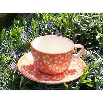 Cup med tallerken, Bolesławiec orange, BSN m-4240