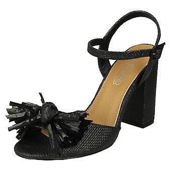 Ladies Spot On Chunky Heel Fringe Bow Vamp Sandals F10842 - Black Synthetic - UK Size 4 - EU Size 37 - US Size 6