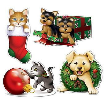 Boże Narodzenie szczeniak idealna kociak wycinanki kartonowe