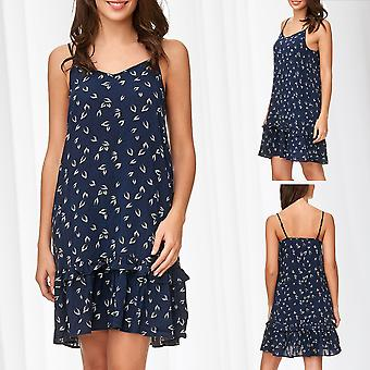 JDY Strap Dress Ladies Robe Leisure Pattern Spaghetti Strap Mini Short Casual