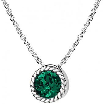 IBB London May Birthstone Swarovski Crystal Necklace - Silver/Green