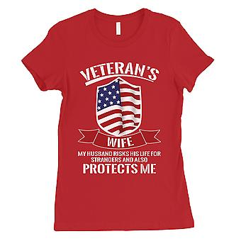 Veterans Wife Shirt Womens Red Graphic T-Shirt For July 4th Outfits