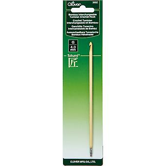 Clover Bamboo Interchangeable Tunisian Crochet Hook-Size G/4Mm (Takumi)