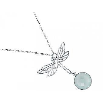 Gemshine - ladies - necklace - pendant - 925 Silver - Dragonfly - chalcedony - sea green - 45 cm