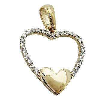 moderner Herzanhänger gold 375 Anhänger, Herz, Zirkonia, 9 Kt GOLD