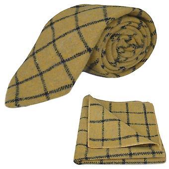 Honey Brown Birdseye Check Tie & Pocket Square Set