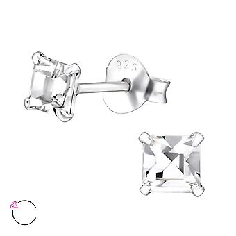 Square crystal from Swarovski® - 925 Sterling Silver Ear Studs - W29473X