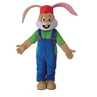 mascot SPOTSOUND Brown rabbit dressed in overalls