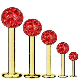 Bar di Labret trago Piercing titanio placcato oro 1.2 mm, Multi sfera di cristallo rosso   5-12 mm