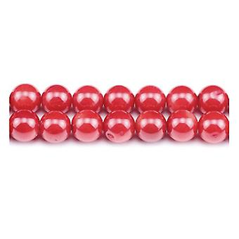 Packet 15 x Red Coral 4mm Plain Round Beads VP1615