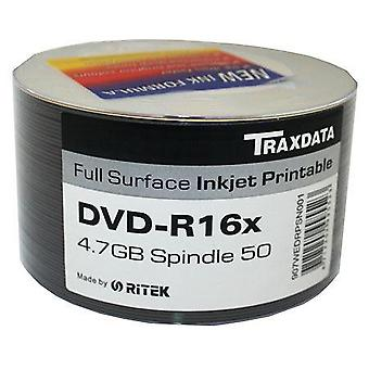 DVD-R 16X TRAXDATA FF Inkjet Printable Blank DVDR Discs - 50 Spindle/Tub x12 (Box of 600)