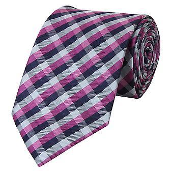 Tie cravate cravate cravate gris bleu 8cm fuchsia checkered Fabio Farini