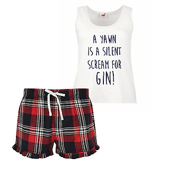 A Yawn Is A Silent Scream For Gin Ladies Tartan Frill Short Pyjama Set Red Blue or Green Blue