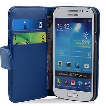 Cadorabo Case for Samsung Galaxy S4 MINI in BRILLANT BLUE - Smooth Faux Leather Phone Case with Stand Function and Card Case Compartment - Case Cover Case Case Case Case Case Case Book Folding Style