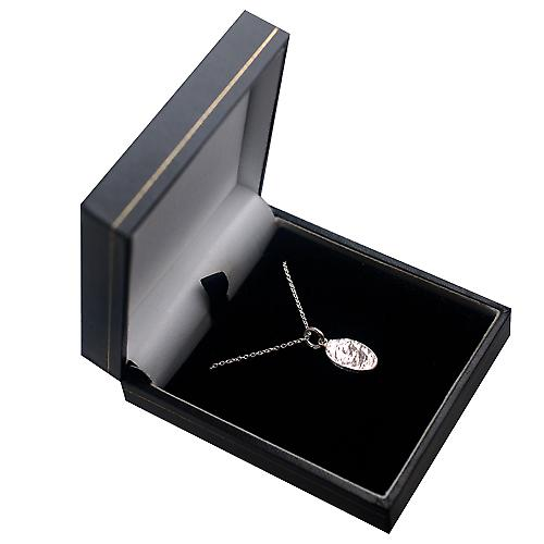 Silver 17x10mm Rugby Ball Pendant with a rolo Chain 14 inches Only Suitable for Children