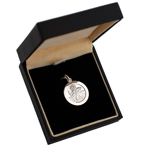 Silver 21mm round St Christopher Pendant
