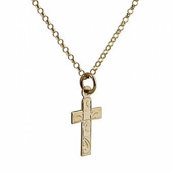 9ct Gold 15x11mm hand engraved flat latin Cross with belcher Chain 20 inches