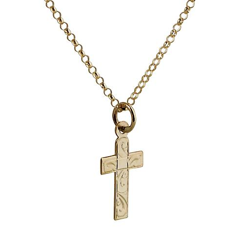 9ct Gold 15x11mm hand engraved flat latin Cross with belcher Chain 16 inches Only Suitable for Children
