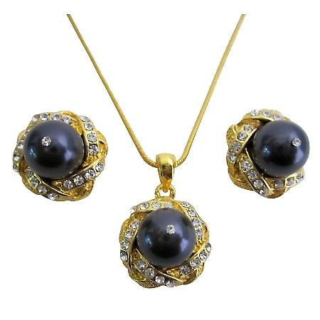 Femininity Egg Plant Purple Pearls Necklace Earrings Set
