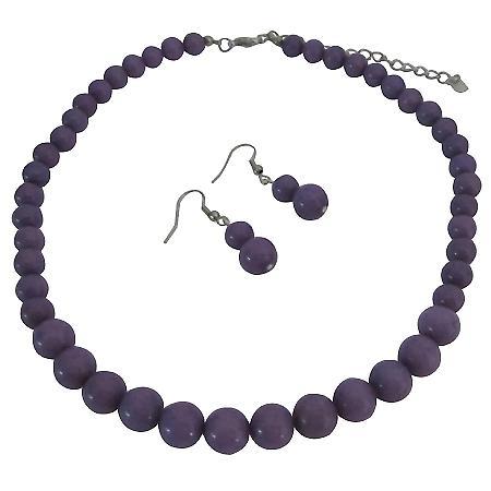 Flower Girl Friend Bride Bridesmaid Purple Jewelry Set