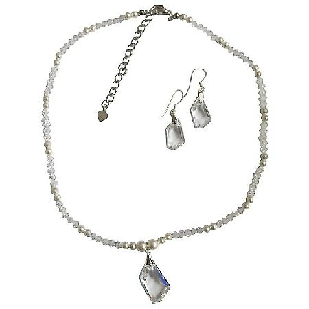 White Pearls Swarovski clear Crystals Irregular Pendant & Earrings Set
